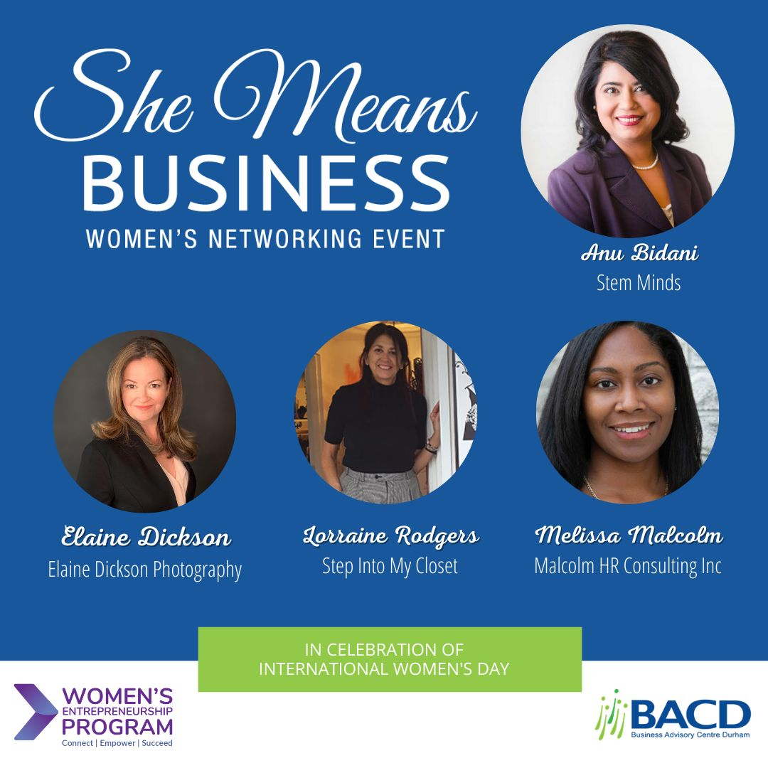 Promotional graphic for she means business women's networking event, featuring Melissa Malcolm