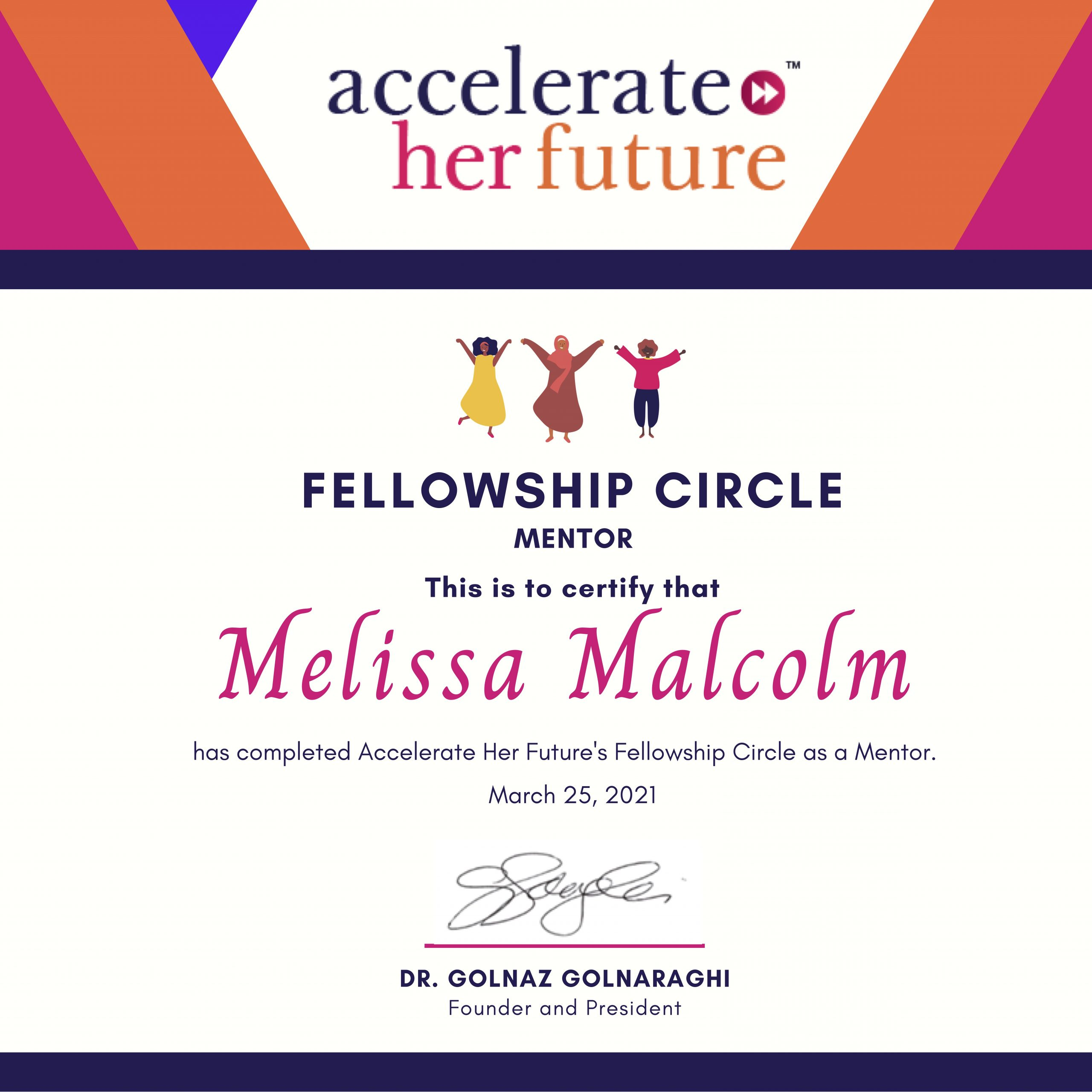 Accelerate her future certificate of fellowship circle mentoring in 2021